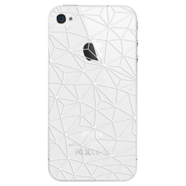 Plastové pouzdro iSaprio - Abstract Triangles 03 - white - iPhone 4/4S