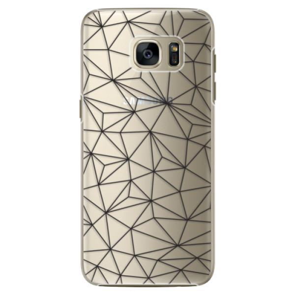 Plastové pouzdro iSaprio - Abstract Triangles 03 - black - Samsung Galaxy S7