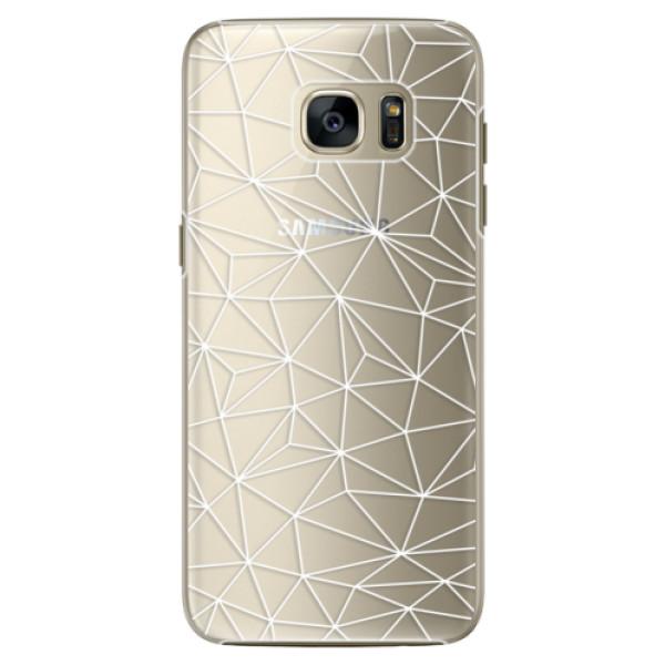 Plastové pouzdro iSaprio - Abstract Triangles 03 - white - Samsung Galaxy S7