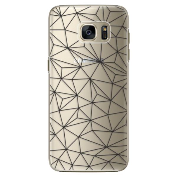 Plastové pouzdro iSaprio - Abstract Triangles 03 - black - Samsung Galaxy S7 Edge