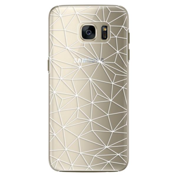 Plastové pouzdro iSaprio - Abstract Triangles 03 - white - Samsung Galaxy S7 Edge