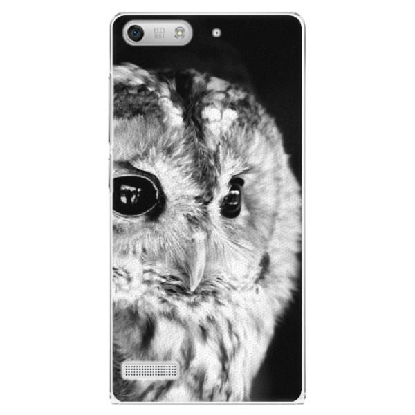 Plastové pouzdro iSaprio - BW Owl - Huawei Ascend G6