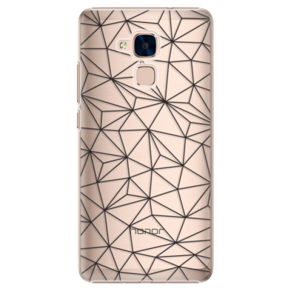 Plastové pouzdro iSaprio - Abstract Triangles 03 - black - Huawei Honor 7 Lite