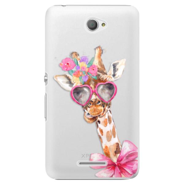Plastové pouzdro iSaprio - Lady Giraffe - Sony Xperia E4