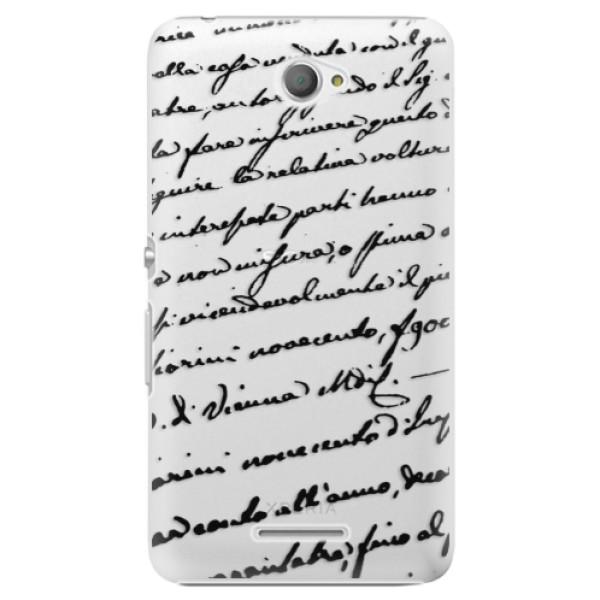 Plastové pouzdro iSaprio - Handwriting 01 - black - Sony Xperia E4