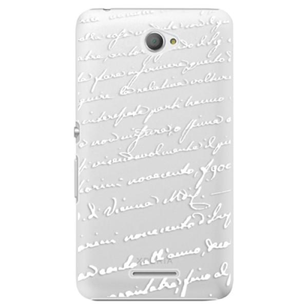 Plastové pouzdro iSaprio - Handwriting 01 - white - Sony Xperia E4