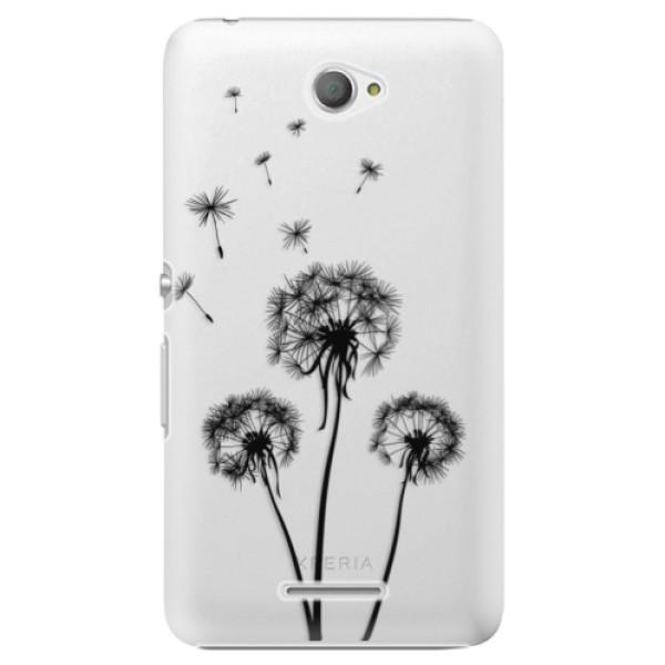 Plastové pouzdro iSaprio - Three Dandelions - black - Sony Xperia E4
