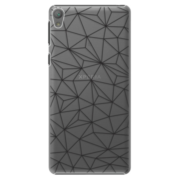 Plastové pouzdro iSaprio - Abstract Triangles 03 - black - Sony Xperia E5