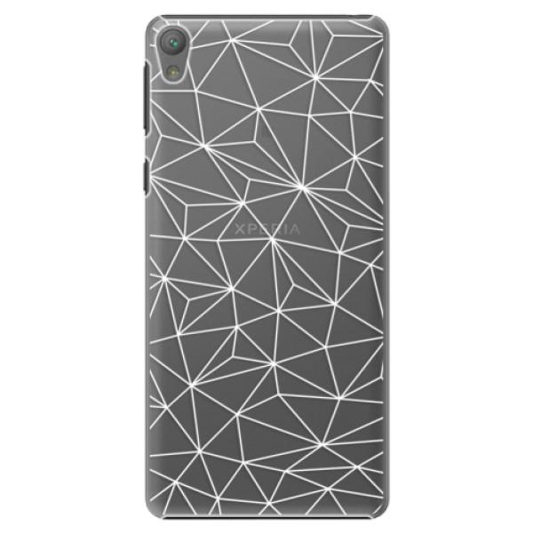 Plastové pouzdro iSaprio - Abstract Triangles 03 - white - Sony Xperia E5