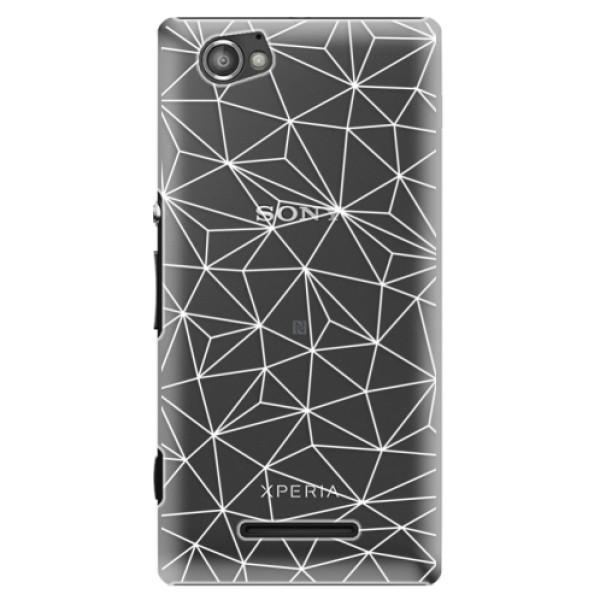 Plastové pouzdro iSaprio - Abstract Triangles 03 - white - Sony Xperia M