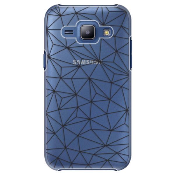 Plastové pouzdro iSaprio - Abstract Triangles 03 - black - Samsung Galaxy J1