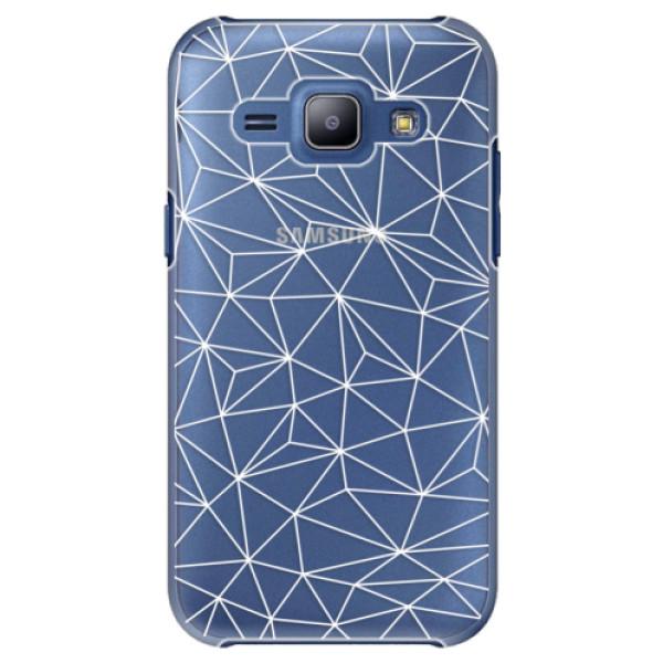 Plastové pouzdro iSaprio - Abstract Triangles 03 - white - Samsung Galaxy J1