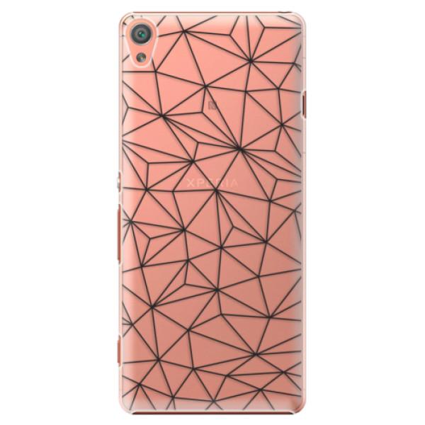 Plastové pouzdro iSaprio - Abstract Triangles 03 - black - Sony Xperia XA