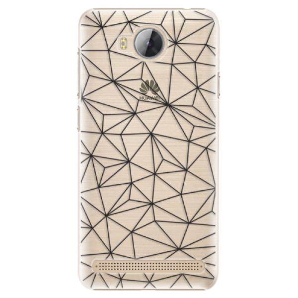 Plastové pouzdro iSaprio - Abstract Triangles 03 - black - Huawei Y3 II