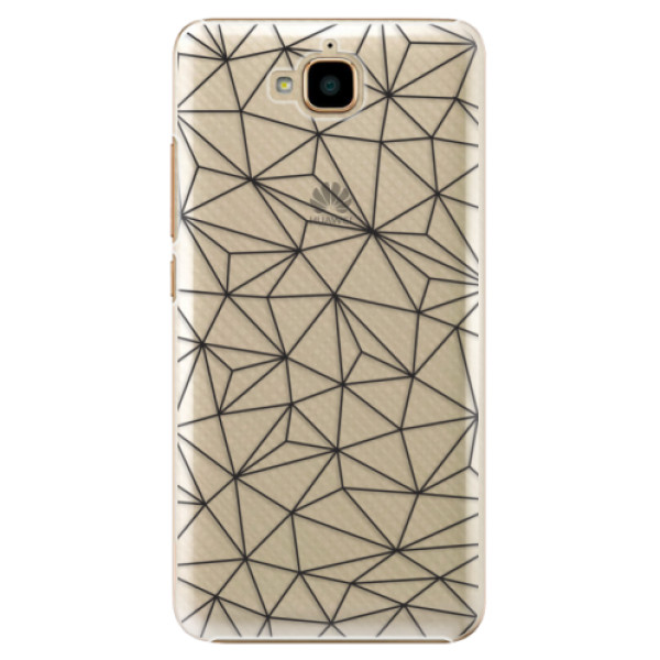 Plastové pouzdro iSaprio - Abstract Triangles 03 - black - Huawei Y6 Pro