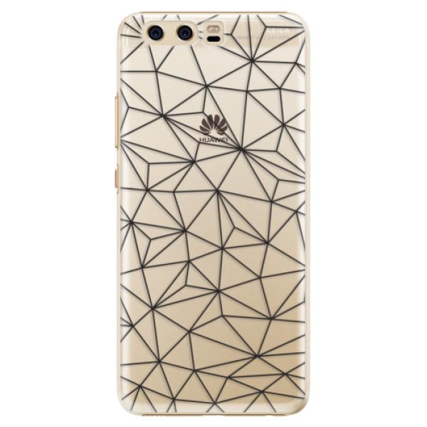 Plastové pouzdro iSaprio - Abstract Triangles 03 - black - Huawei P10
