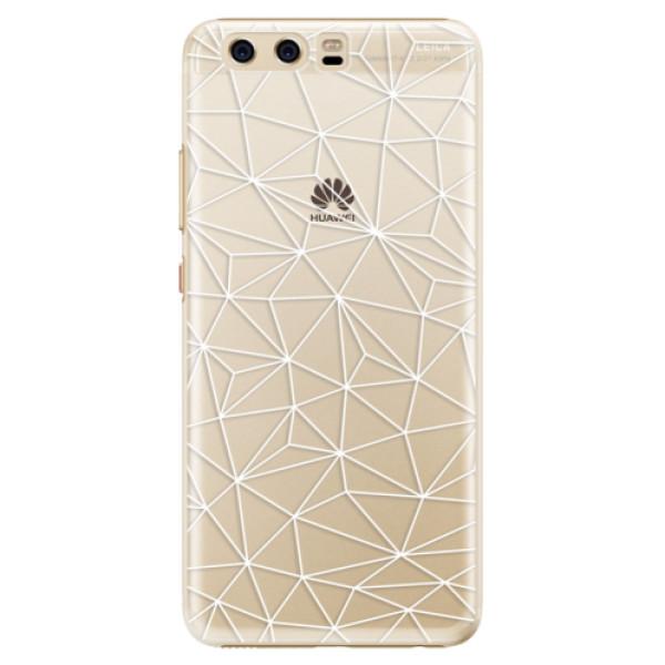 Plastové pouzdro iSaprio - Abstract Triangles 03 - white - Huawei P10