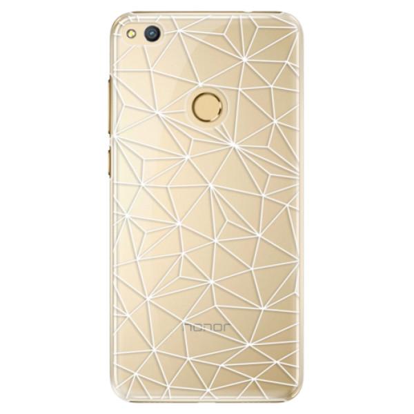 Plastové pouzdro iSaprio - Abstract Triangles 03 - white - Huawei Honor 8 Lite