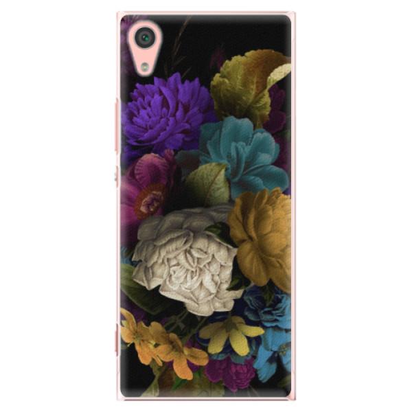 Plastové pouzdro iSaprio - Dark Flowers - Sony Xperia XA1
