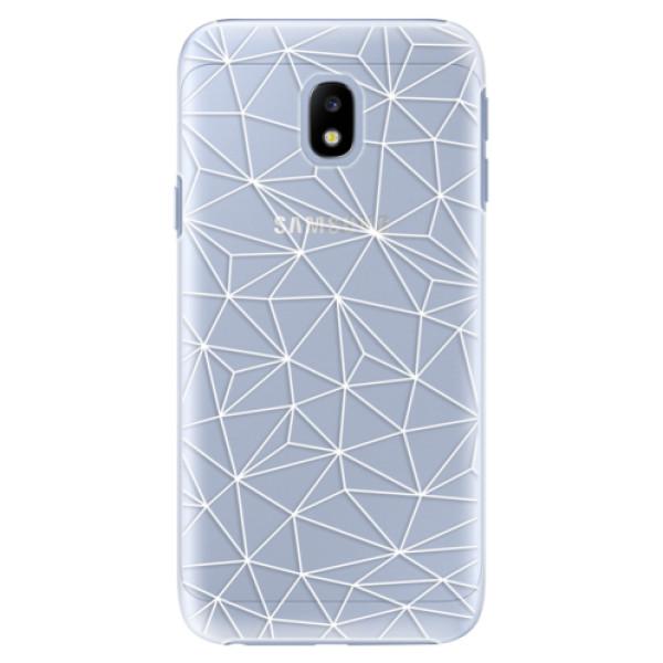 Plastové pouzdro iSaprio - Abstract Triangles 03 - white - Samsung Galaxy J3 2017