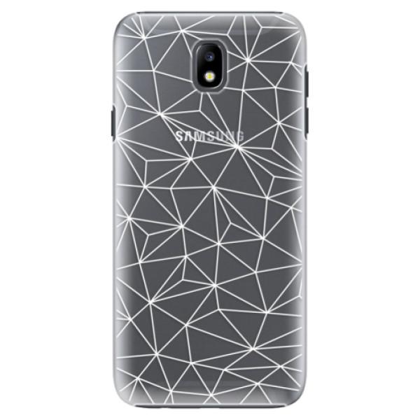 Plastové pouzdro iSaprio - Abstract Triangles 03 - white - Samsung Galaxy J7 2017