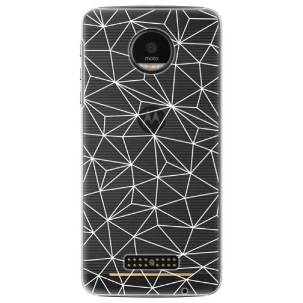 Plastové pouzdro iSaprio - Abstract Triangles 03 - white - Lenovo Moto Z