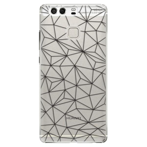 Plastové pouzdro iSaprio - Abstract Triangles 03 - black - Huawei P9
