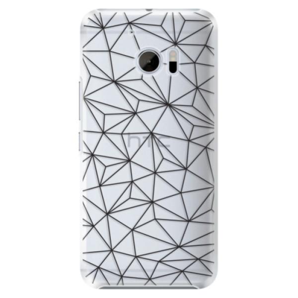 Plastové pouzdro iSaprio - Abstract Triangles 03 - black - HTC 10
