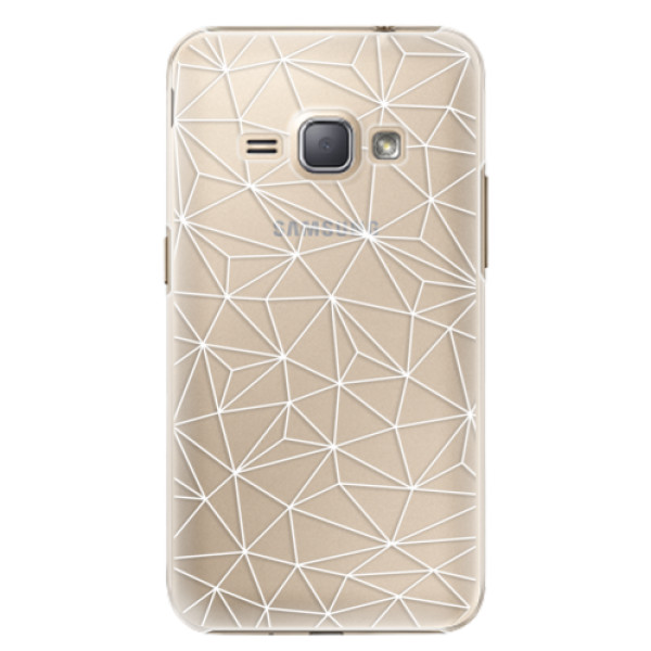 Plastové pouzdro iSaprio - Abstract Triangles 03 - white - Samsung Galaxy J1 2016