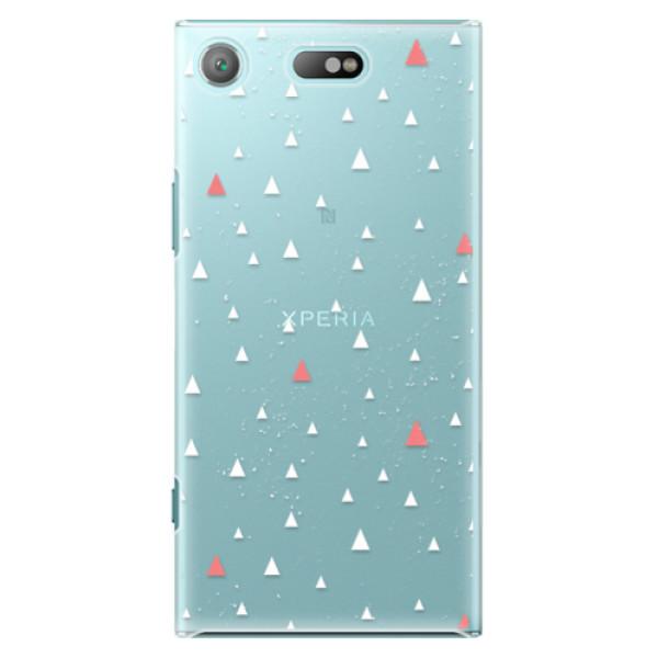 Plastové pouzdro iSaprio - Abstract Triangles 02 - white - Sony Xperia XZ1 Compact