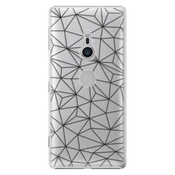 Plastové pouzdro iSaprio - Abstract Triangles 03 - black - Sony Xperia XZ2