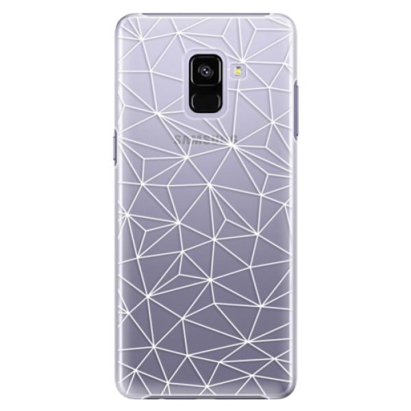 Plastové pouzdro iSaprio - Abstract Triangles 03 - white - Samsung Galaxy A8+