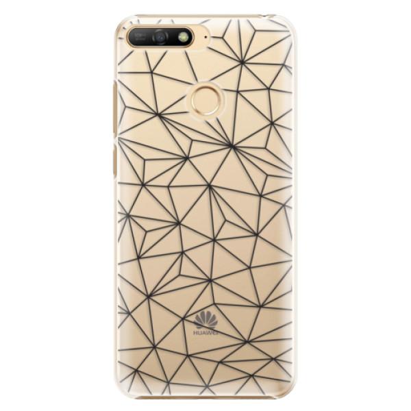 Plastové pouzdro iSaprio - Abstract Triangles 03 - black - Huawei Y6 Prime 2018