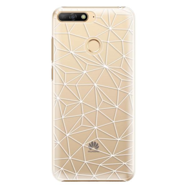Plastové pouzdro iSaprio - Abstract Triangles 03 - white - Huawei Y6 Prime 2018