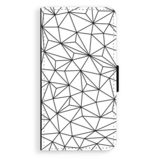 Flipové pouzdro iSaprio - Abstract Triangles 03 - black - iPhone X