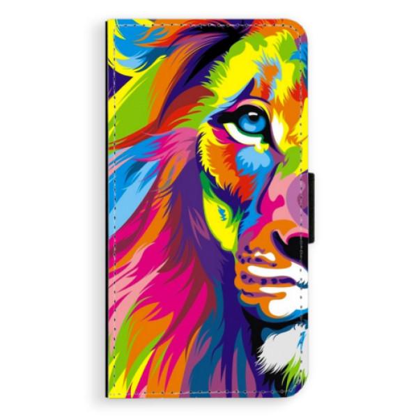 Flipové pouzdro iSaprio - Rainbow Lion - Samsung Galaxy J7 2016