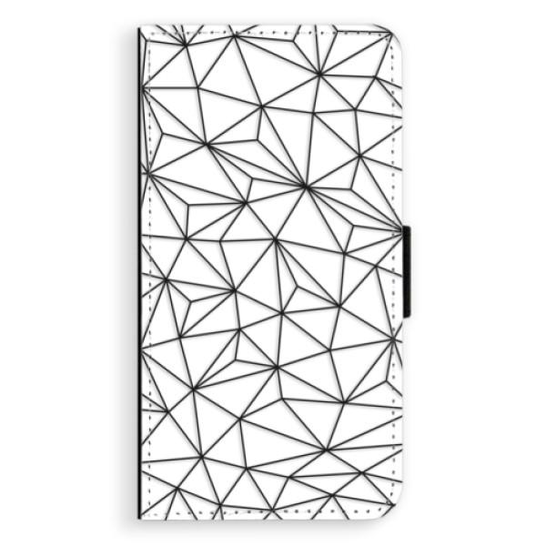 Flipové pouzdro iSaprio - Abstract Triangles 03 - black - Samsung Galaxy J7 2016