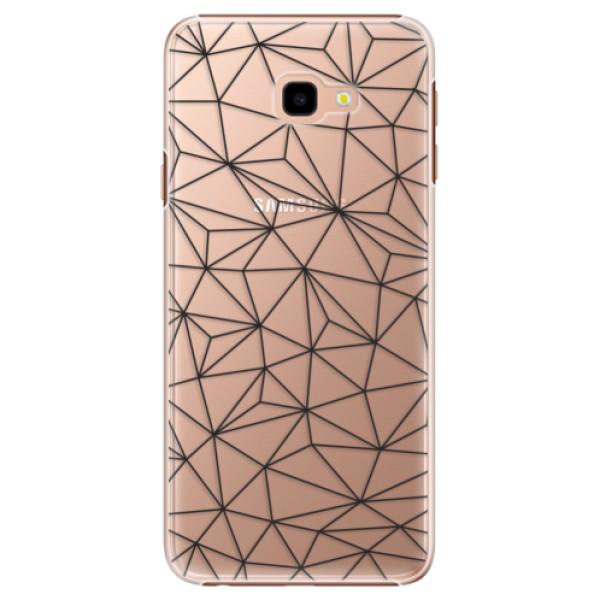 Plastové pouzdro iSaprio - Abstract Triangles 03 - black - Samsung Galaxy J4+