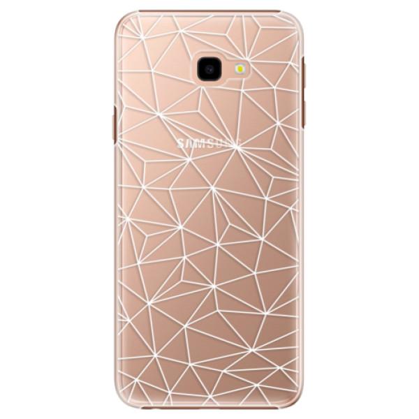 Plastové pouzdro iSaprio - Abstract Triangles 03 - white - Samsung Galaxy J4+