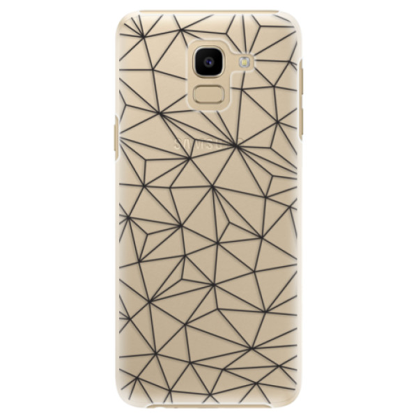 Plastové pouzdro iSaprio - Abstract Triangles 03 - black - Samsung Galaxy J6