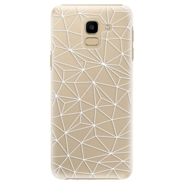 Plastové pouzdro iSaprio - Abstract Triangles 03 - white - Samsung Galaxy J6
