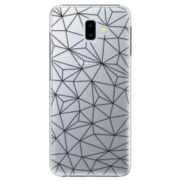Plastové pouzdro iSaprio - Abstract Triangles 03 - black - Samsung Galaxy J6+