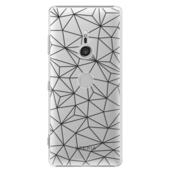 Plastové pouzdro iSaprio - Abstract Triangles 03 - black - Sony Xperia XZ3