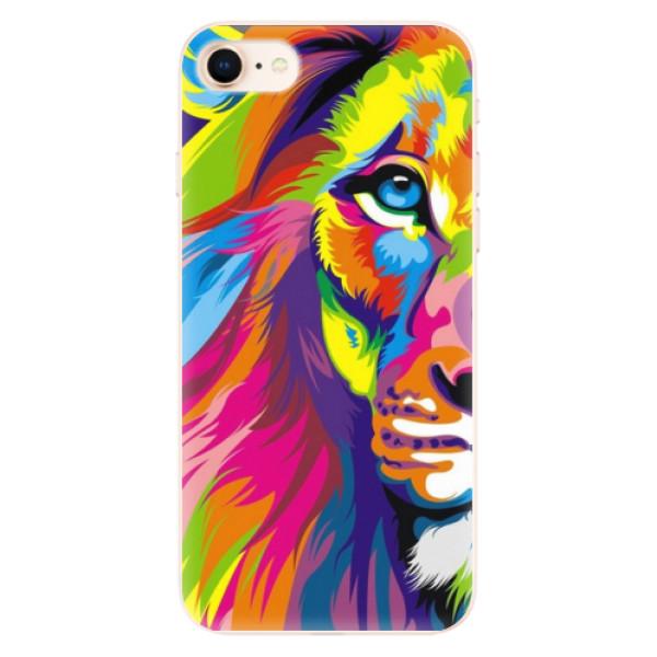 Silikonové pouzdro iSaprio - Rainbow Lion - iPhone 8