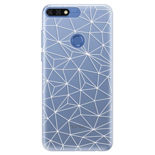 Silikonové pouzdro iSaprio - Abstract Triangles 03 - white - Huawei Honor 7C