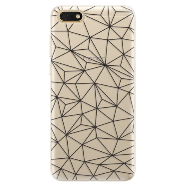 Silikonové pouzdro iSaprio - Abstract Triangles 03 - black - Huawei Honor 7S