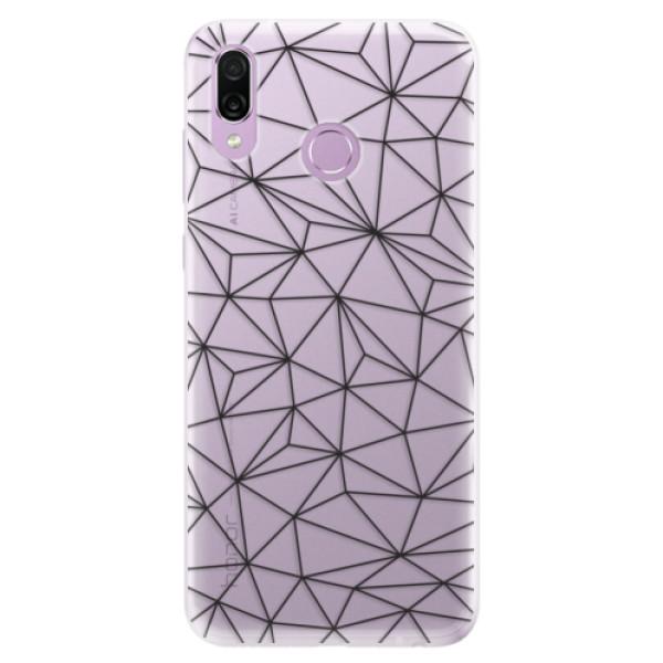 Silikonové pouzdro iSaprio - Abstract Triangles 03 - black - Huawei Honor Play