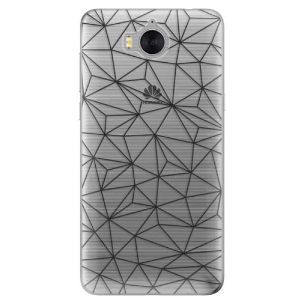 Silikonové pouzdro iSaprio - Abstract Triangles 03 - black - Huawei Y5 2017 / Y6 2017