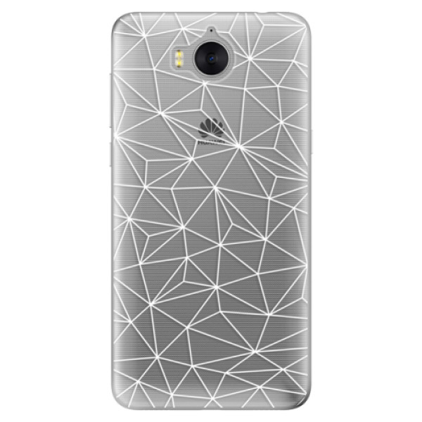 Silikonové pouzdro iSaprio - Abstract Triangles 03 - white - Huawei Y5 2017 / Y6 2017