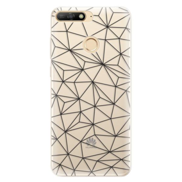 Silikonové pouzdro iSaprio - Abstract Triangles 03 - black - Huawei Y6 Prime 2018